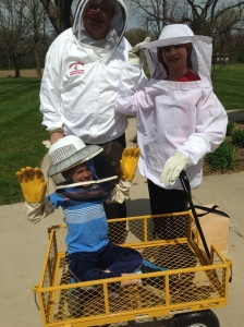 Grandsons Colin and Zack Murray get ready to help check on the hives.